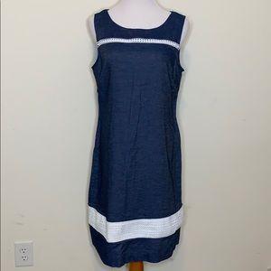 Liz Claiborne embroidered Jean Dress (D68)